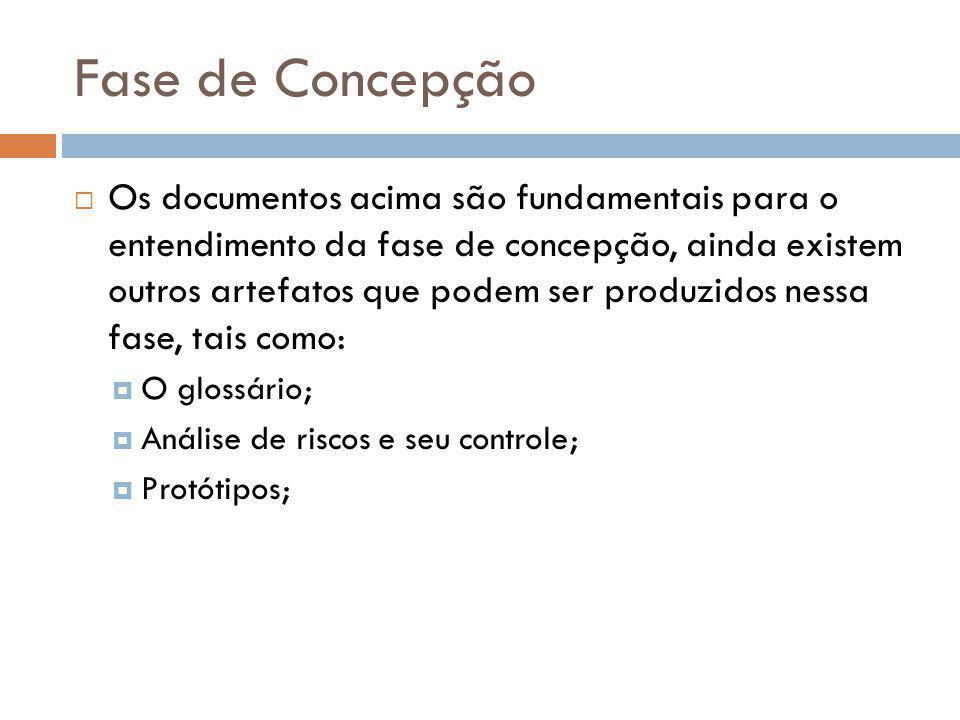 Fase de Concepção  Os documentos acima são fundamentais para o entendimento da fase de concepção, ainda existem outros artefatos que podem ser produz