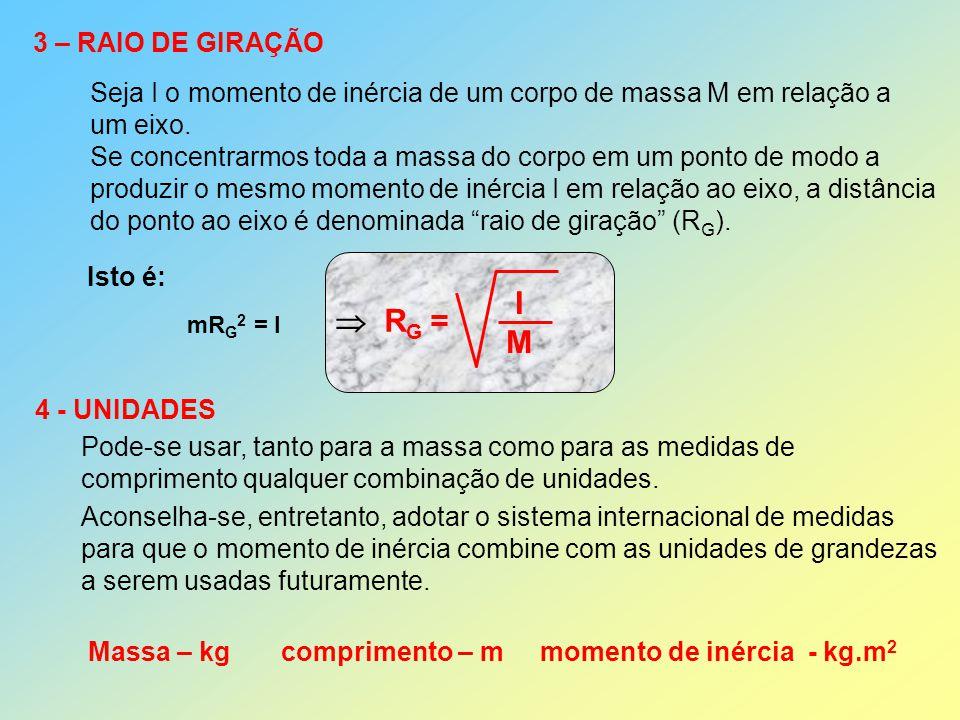 3 – RAIO DE GIRAÇÃO Seja I o momento de inércia de um corpo de massa M em relação a um eixo. Se concentrarmos toda a massa do corpo em um ponto de mod