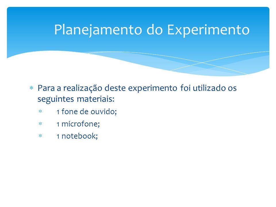  Para a realização deste experimento foi utilizado os seguintes materiais:  1 fone de ouvido;  1 microfone;  1 notebook; Planejamento do Experimento