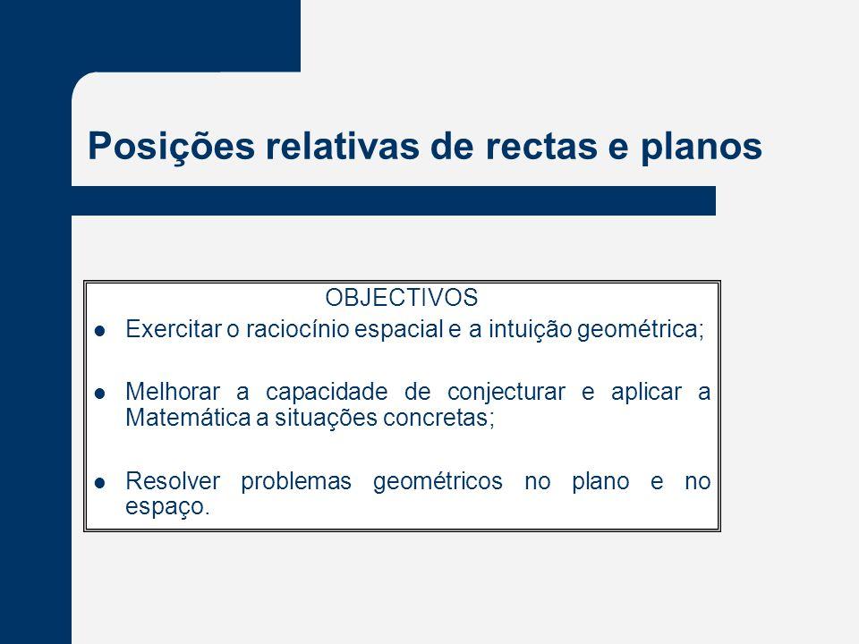 Posições relativas de rectas e planos OBJECTIVOS Exercitar o raciocínio espacial e a intuição geométrica; Melhorar a capacidade de conjecturar e aplicar a Matemática a situações concretas; Resolver problemas geométricos no plano e no espaço.