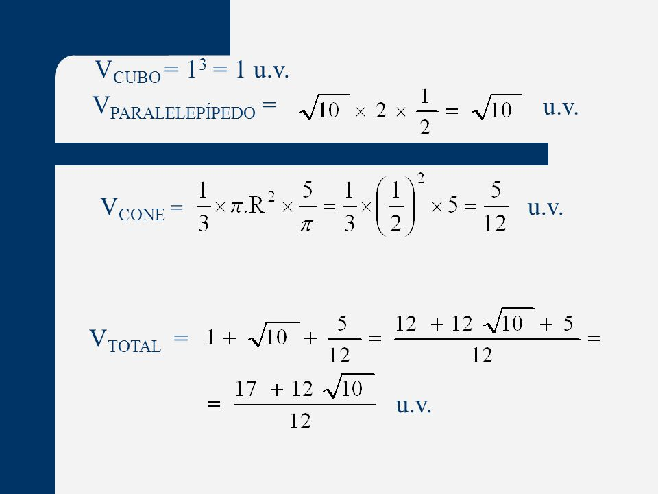 V CUBO = 1 3 = 1 u.v. V PARALELEPÍPEDO = u.v. V CONE = u.v. V TOTAL = u.v.