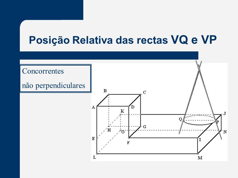 Posição Relativa das rectas VQ e VP Concorrentes não perpendiculares