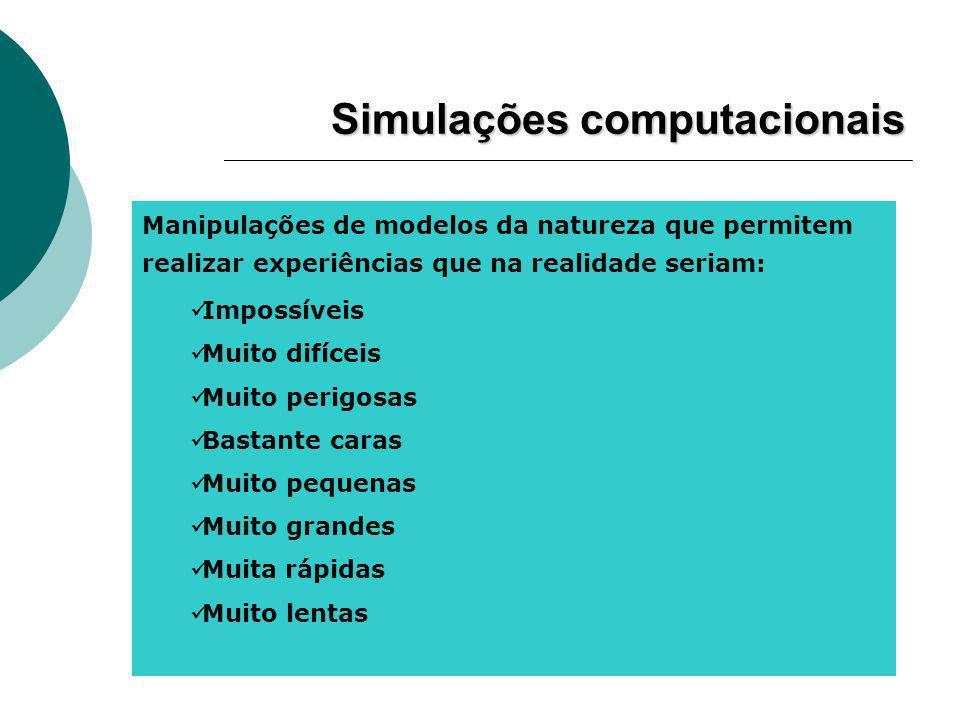 Manipulações de modelos da natureza que permitem realizar experiências que na realidade seriam: Impossíveis Muito difíceis Muito perigosas Bastante caras Muito pequenas Muito grandes Muita rápidas Muito lentas Simulações computacionais