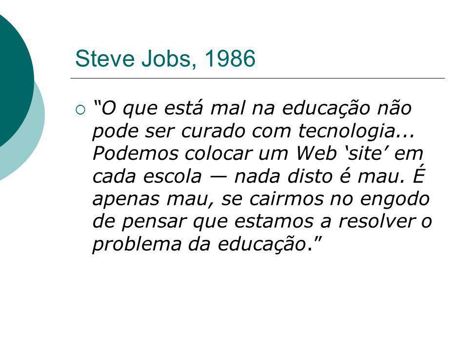 """Steve Jobs, 1986  """"O que está mal na educação não pode ser curado com tecnologia... Podemos colocar um Web 'site' em cada escola — nada disto é mau."""