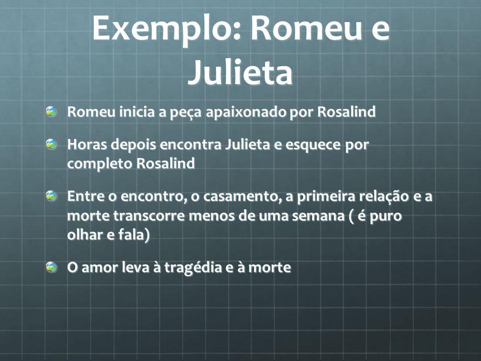 Exemplo: Romeu e Julieta Romeu inicia a peça apaixonado por Rosalind Horas depois encontra Julieta e esquece por completo Rosalind Entre o encontro, o