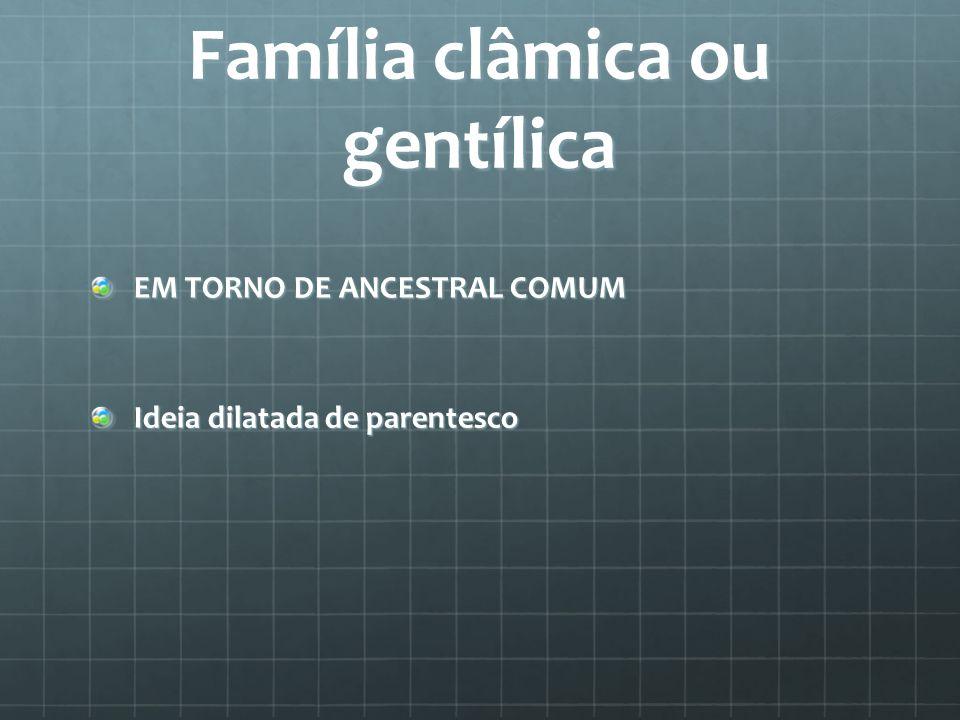 Família clâmica ou gentílica EM TORNO DE ANCESTRAL COMUM Ideia dilatada de parentesco