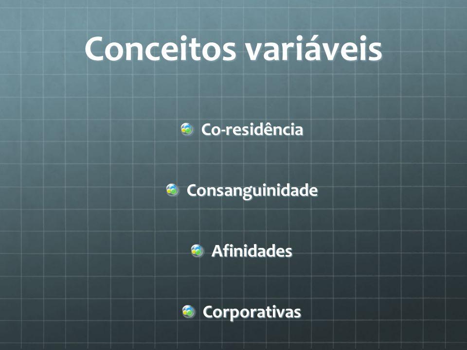Conceitos variáveis Co-residênciaConsanguinidadeAfinidadesCorporativas