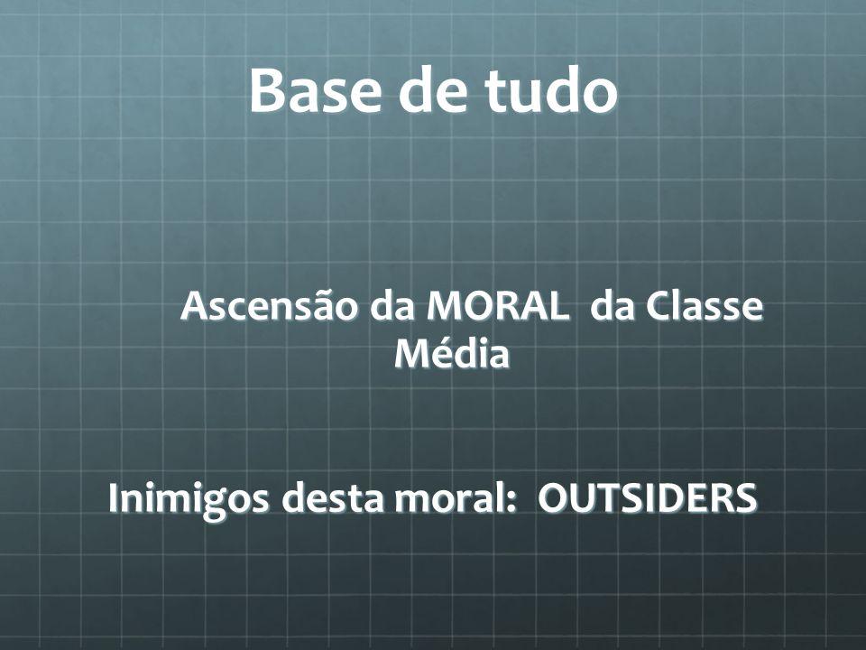Base de tudo Ascensão da MORAL da Classe Média Ascensão da MORAL da Classe Média Inimigos desta moral: OUTSIDERS