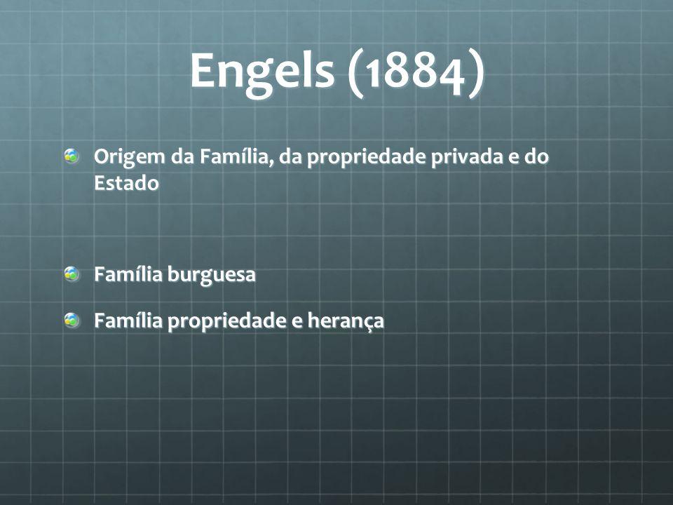 Engels (1884) Origem da Família, da propriedade privada e do Estado Família burguesa Família propriedade e herança