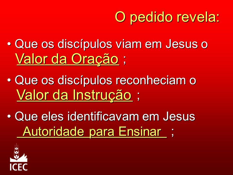 O pedido revela: Que os discípulos viam em Jesus o Que os discípulos viam em Jesus o _______________ ; _______________ ; Valor da Oração Que os discíp