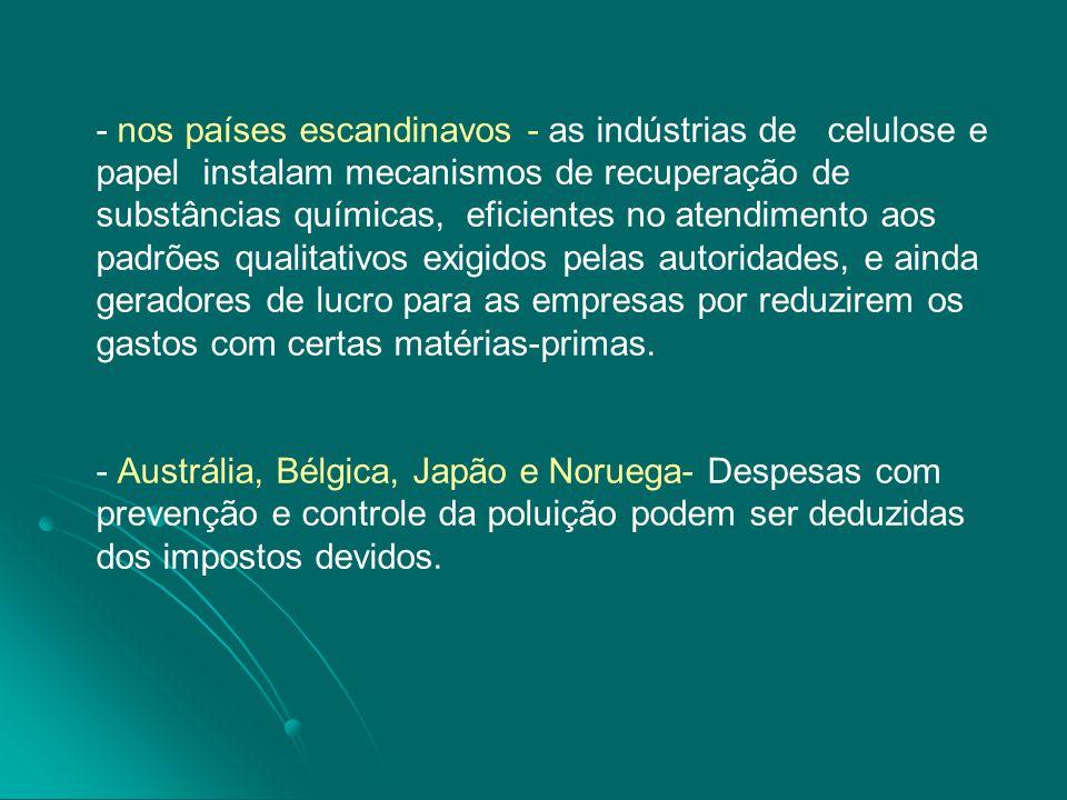 - nos países escandinavos - as indústrias de celulose e papel instalam mecanismos de recuperação de substâncias químicas, eficientes no atendimento ao