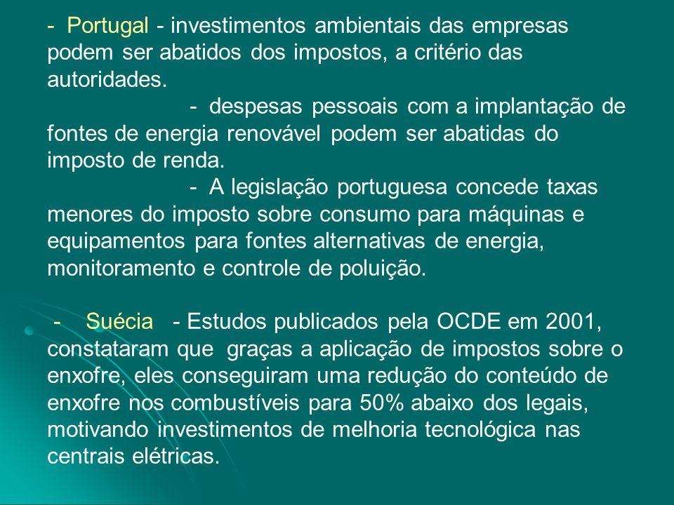 - - - Portugal - investimentos ambientais das empresas podem ser abatidos dos impostos, a critério das autoridades. - despesas pessoais com a implanta