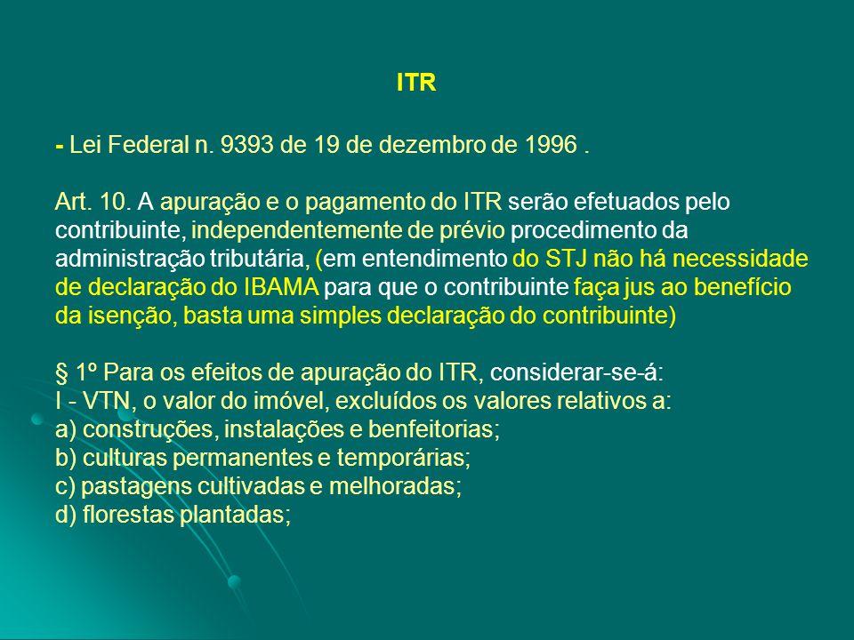 ITR - Lei Federal n. 9393 de 19 de dezembro de 1996. Art. 10. A apuração e o pagamento do ITR serão efetuados pelo contribuinte, independentemente de