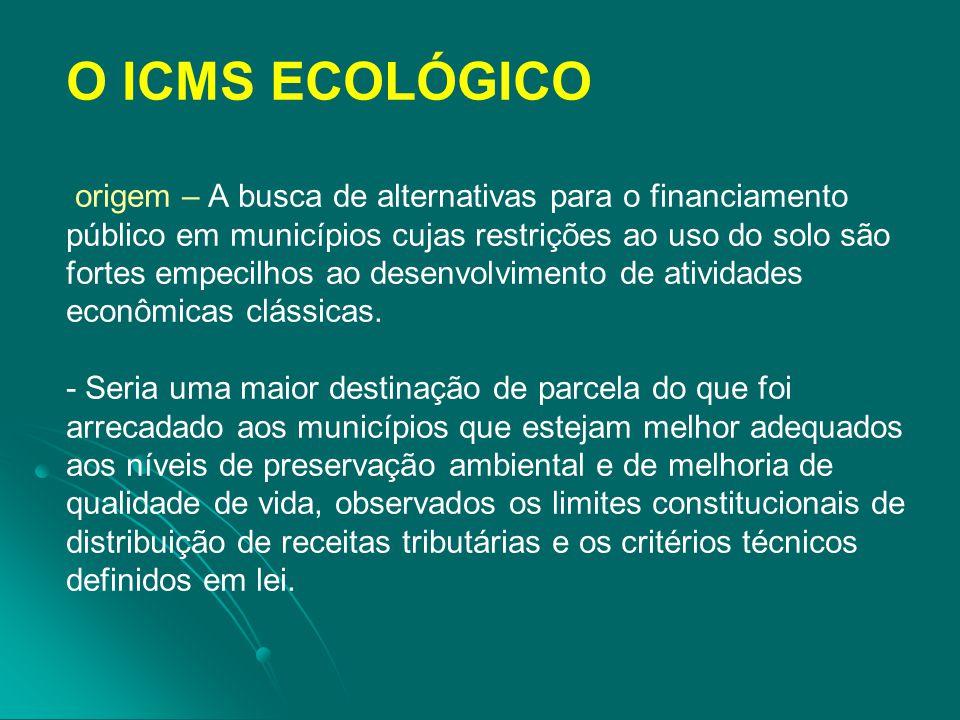 O ICMS ECOLÓGICO origem – A busca de alternativas para o financiamento público em municípios cujas restrições ao uso do solo são fortes empecilhos ao