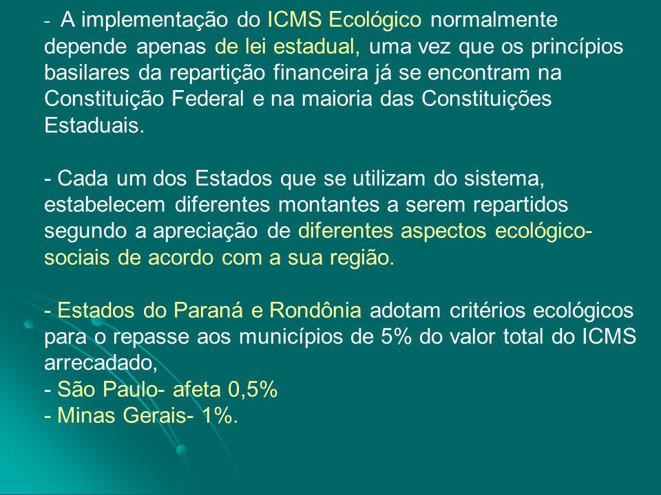 - - A implementação do ICMS Ecológico normalmente depende apenas de lei estadual, uma vez que os princípios basilares da repartição financeira já se e