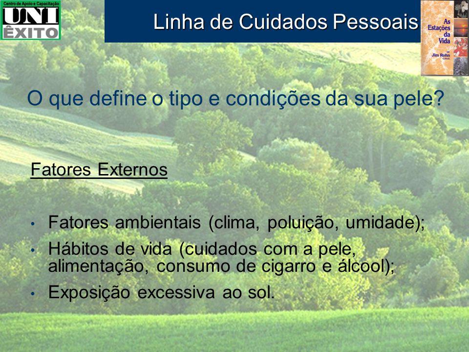 Fatores Externos Fatores ambientais (clima, poluição, umidade); Hábitos de vida (cuidados com a pele, alimentação, consumo de cigarro e álcool); Expos