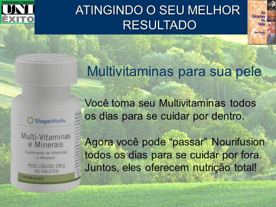 """Multivitaminas para sua pele Você toma seu Multivitaminas todos os dias para se cuidar por dentro. Agora você pode """"passar"""" Nourifusion todos os dias"""