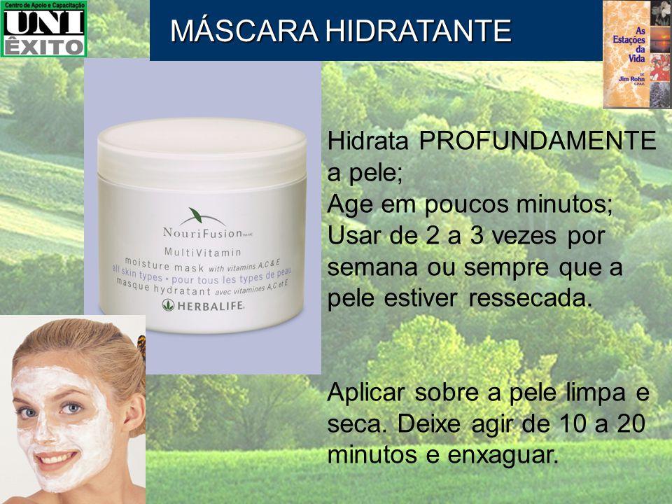 Hidrata PROFUNDAMENTE a pele; Age em poucos minutos; Usar de 2 a 3 vezes por semana ou sempre que a pele estiver ressecada. Aplicar sobre a pele limpa
