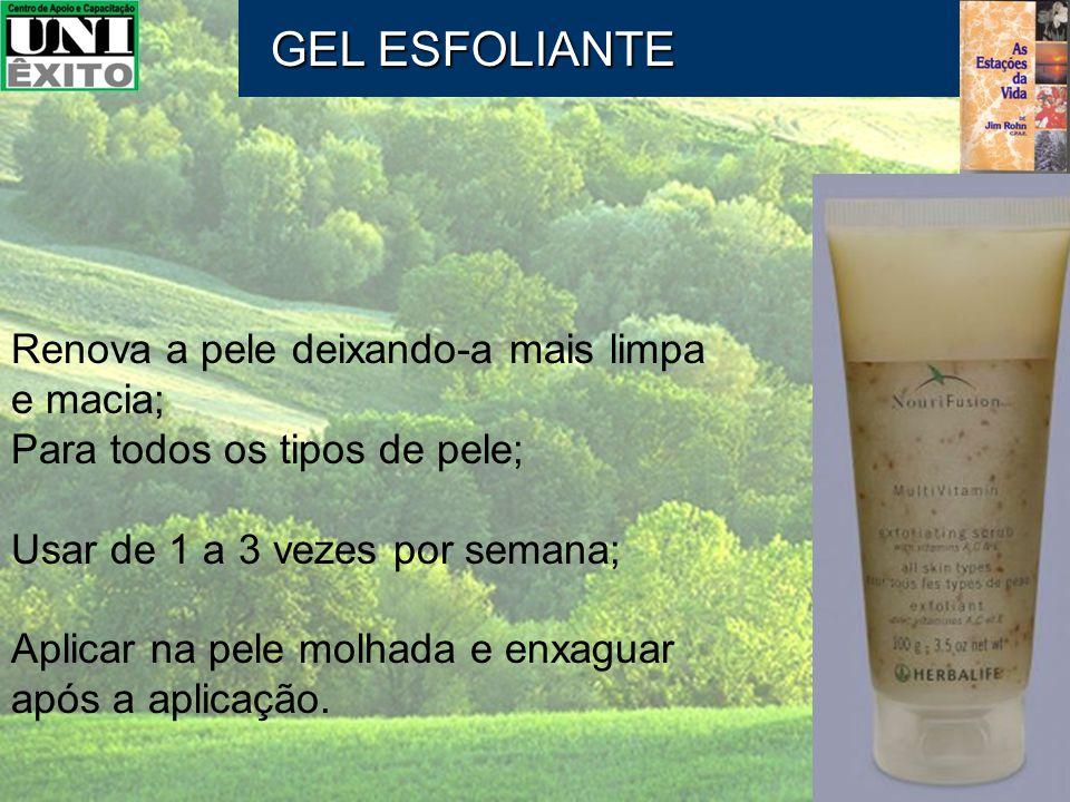 Renova a pele deixando-a mais limpa e macia; Para todos os tipos de pele; Usar de 1 a 3 vezes por semana; Aplicar na pele molhada e enxaguar após a ap