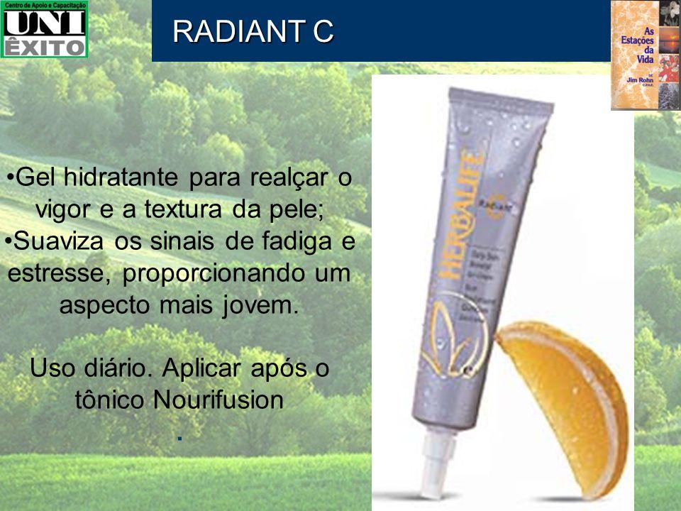 RADIANT C Gel hidratante para realçar o vigor e a textura da pele; Suaviza os sinais de fadiga e estresse, proporcionando um aspecto mais jovem. Uso d