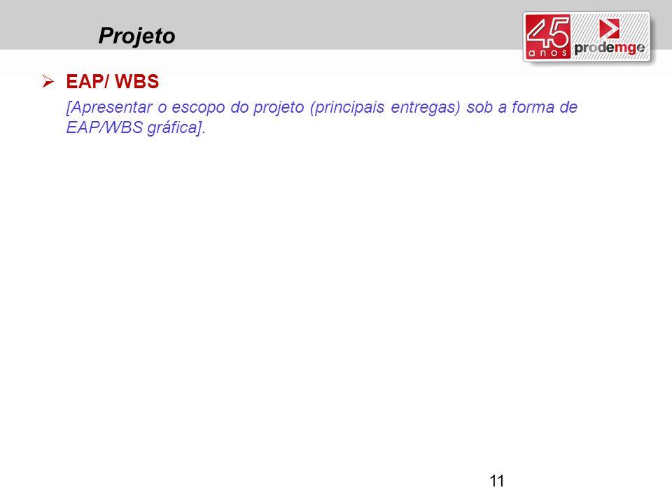 Projeto  EAP/ WBS [Apresentar o escopo do projeto (principais entregas) sob a forma de EAP/WBS gráfica]. 11