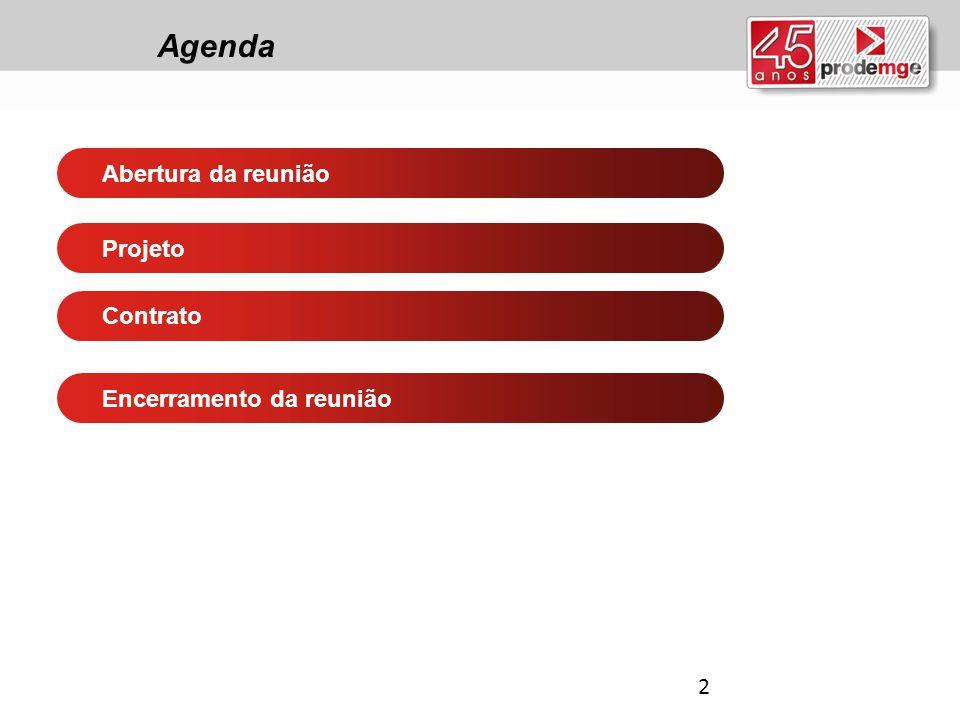 Agenda Abertura da reunião Contrato Projeto Encerramento da reunião 2