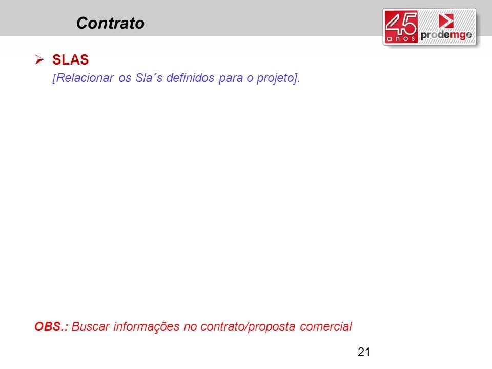 Contrato  SLAS [ Relacionar os Sla´s definidos para o projeto]. OBS.: Buscar informações no contrato/proposta comercial 21