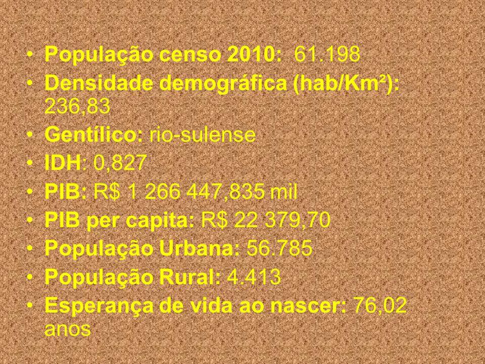 População censo 2010: 61.198 Densidade demográfica (hab/Km²): 236,83 Gentílico: rio-sulense IDH: 0,827 PIB: R$ 1 266 447,835 mil PIB per capita: R$ 22