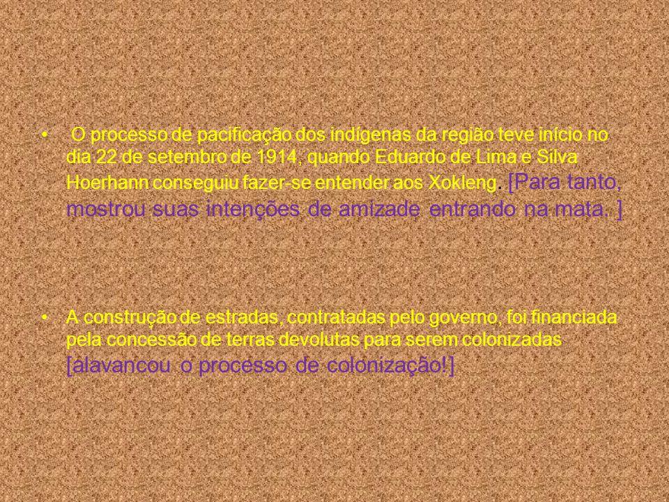 O processo de pacificação dos indígenas da região teve início no dia 22 de setembro de 1914, quando Eduardo de Lima e Silva Hoerhann conseguiu fazer-s