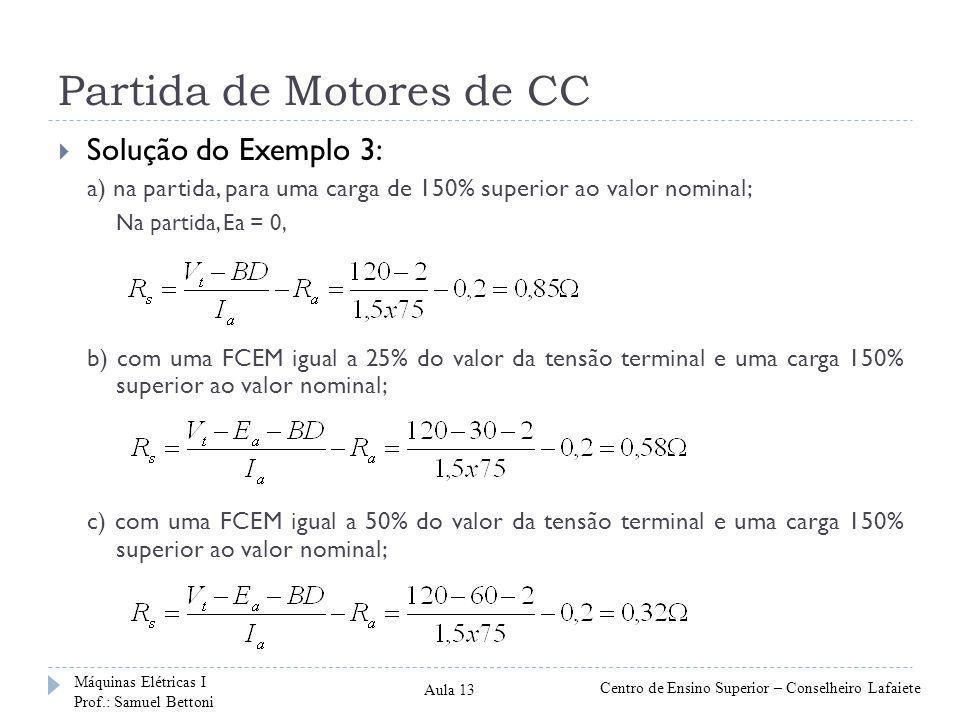 Partida de Motores de CC  Solução do Exemplo 3: a) na partida, para uma carga de 150% superior ao valor nominal; Na partida, Ea = 0, b) com uma FCEM