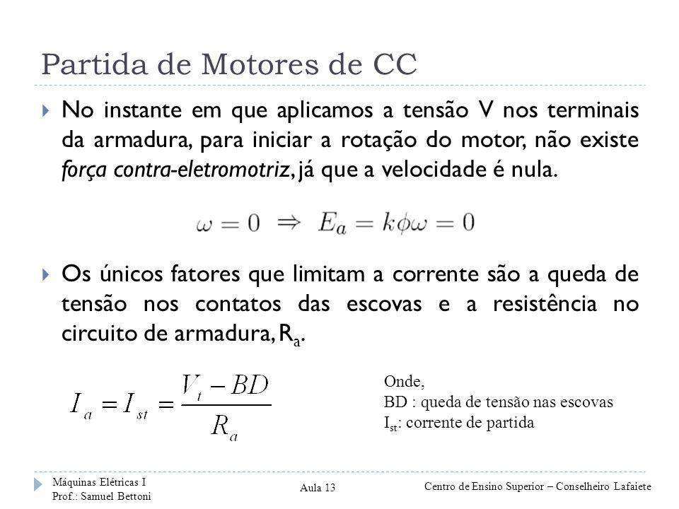 Partida de Motores de CC  No instante em que aplicamos a tensão V nos terminais da armadura, para iniciar a rotação do motor, não existe força contra