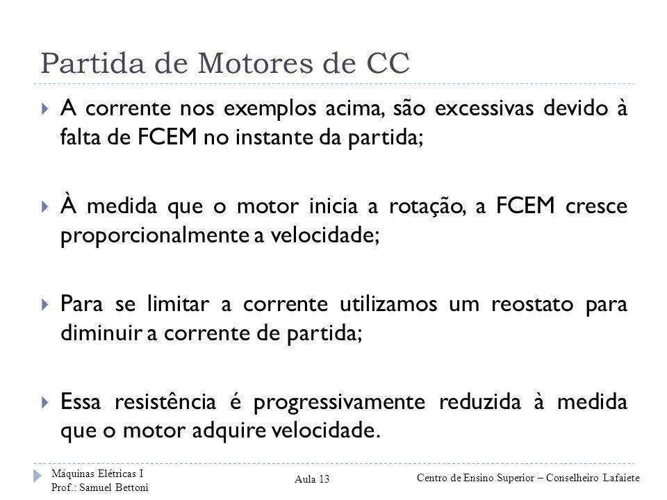 Partida de Motores de CC  A corrente nos exemplos acima, são excessivas devido à falta de FCEM no instante da partida;  À medida que o motor inicia