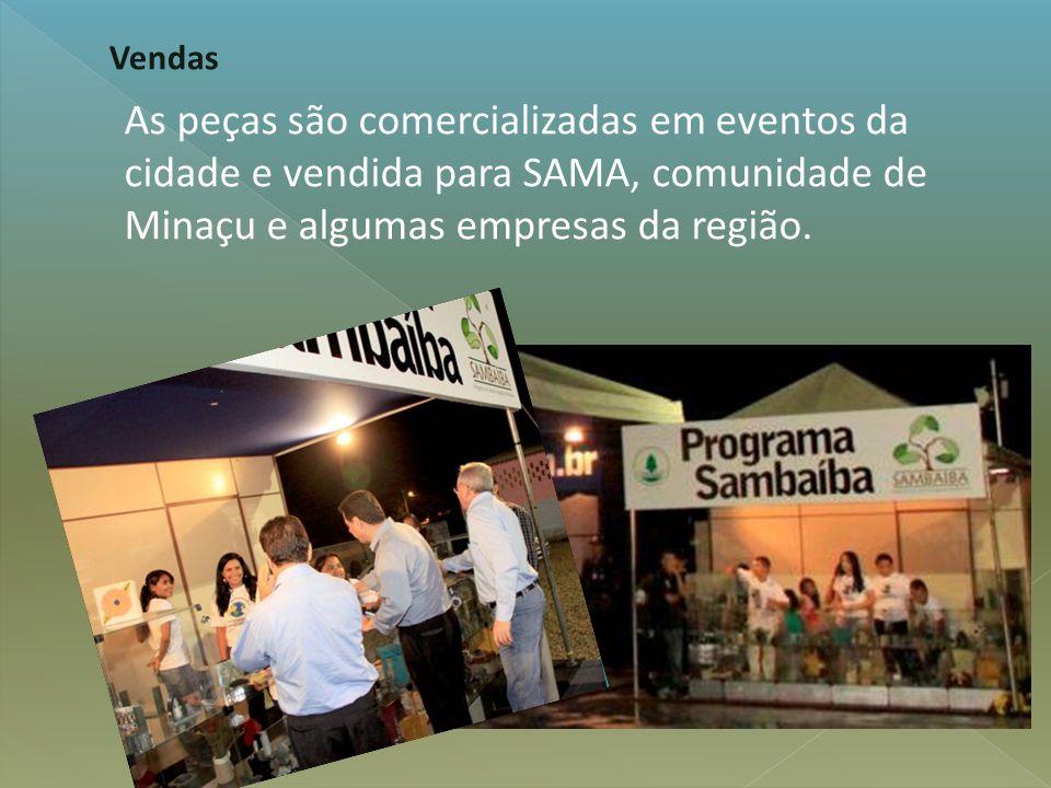 As peças são comercializadas em eventos da cidade e vendida para SAMA, comunidade de Minaçu e algumas empresas da região. Vendas