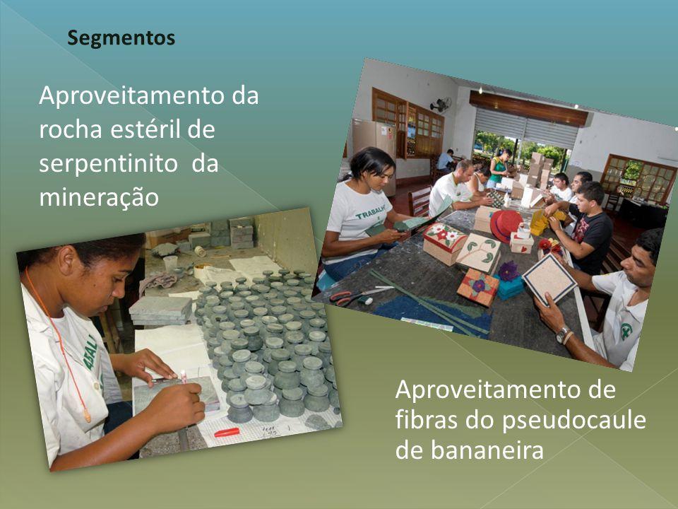 Aproveitamento de fibras do pseudocaule de bananeira Segmentos Aproveitamento da rocha estéril de serpentinito da mineração