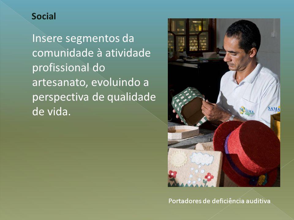 Insere segmentos da comunidade à atividade profissional do artesanato, evoluindo a perspectiva de qualidade de vida. Social Portadores de deficiência