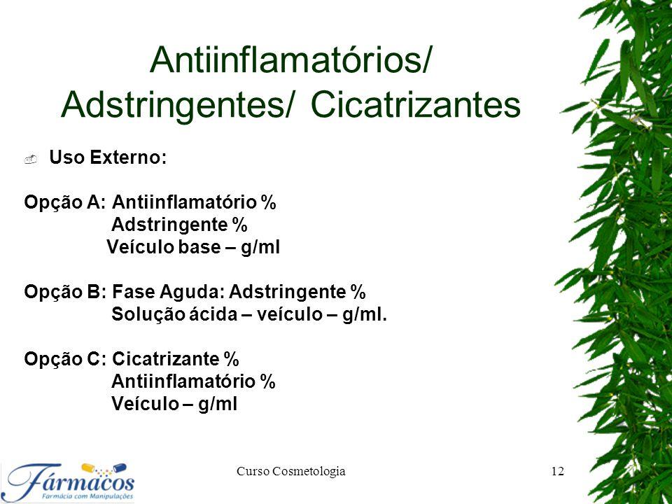 Antiinflamatórios/ Adstringentes/ Cicatrizantes  Uso Externo: Opção A: Antiinflamatório % Adstringente % Veículo base – g/ml Opção B: Fase Aguda: Ads