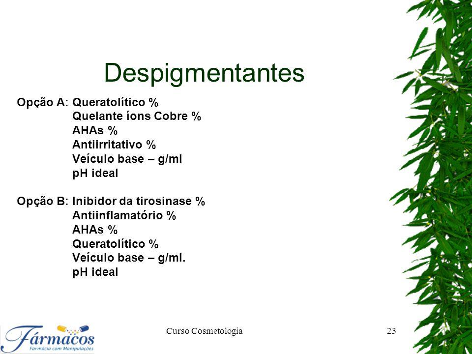 Despigmentantes Opção A: Queratolítico % Quelante íons Cobre % AHAs % Antiirritativo % Veículo base – g/ml pH ideal Opção B: Inibidor da tirosinase %