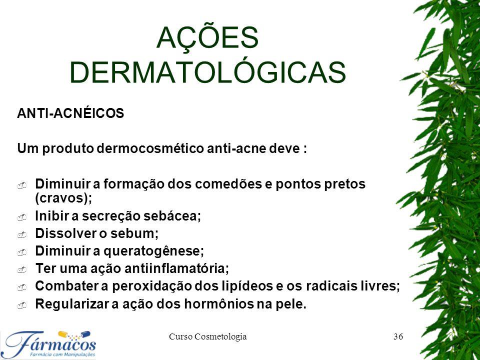 AÇÕES DERMATOLÓGICAS ANTI-ACNÉICOS Um produto dermocosmético anti-acne deve :  Diminuir a formação dos comedões e pontos pretos (cravos);  Inibir a