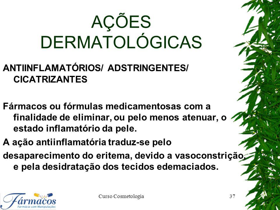 AÇÕES DERMATOLÓGICAS ANTIINFLAMATÓRIOS/ ADSTRINGENTES/ CICATRIZANTES Fármacos ou fórmulas medicamentosas com a finalidade de eliminar, ou pelo menos a