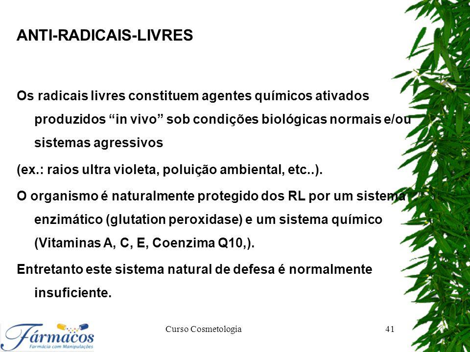"""ANTI-RADICAIS-LIVRES Os radicais livres constituem agentes químicos ativados produzidos """"in vivo"""" sob condições biológicas normais e/ou sistemas agres"""