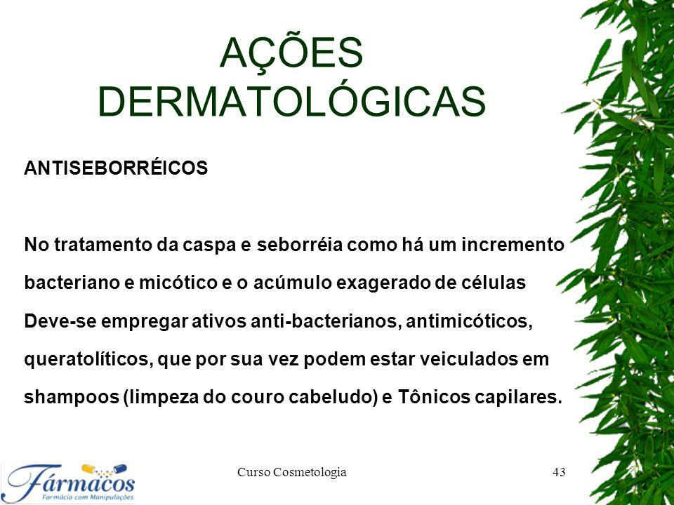 AÇÕES DERMATOLÓGICAS ANTISEBORRÉICOS No tratamento da caspa e seborréia como há um incremento bacteriano e micótico e o acúmulo exagerado de células D