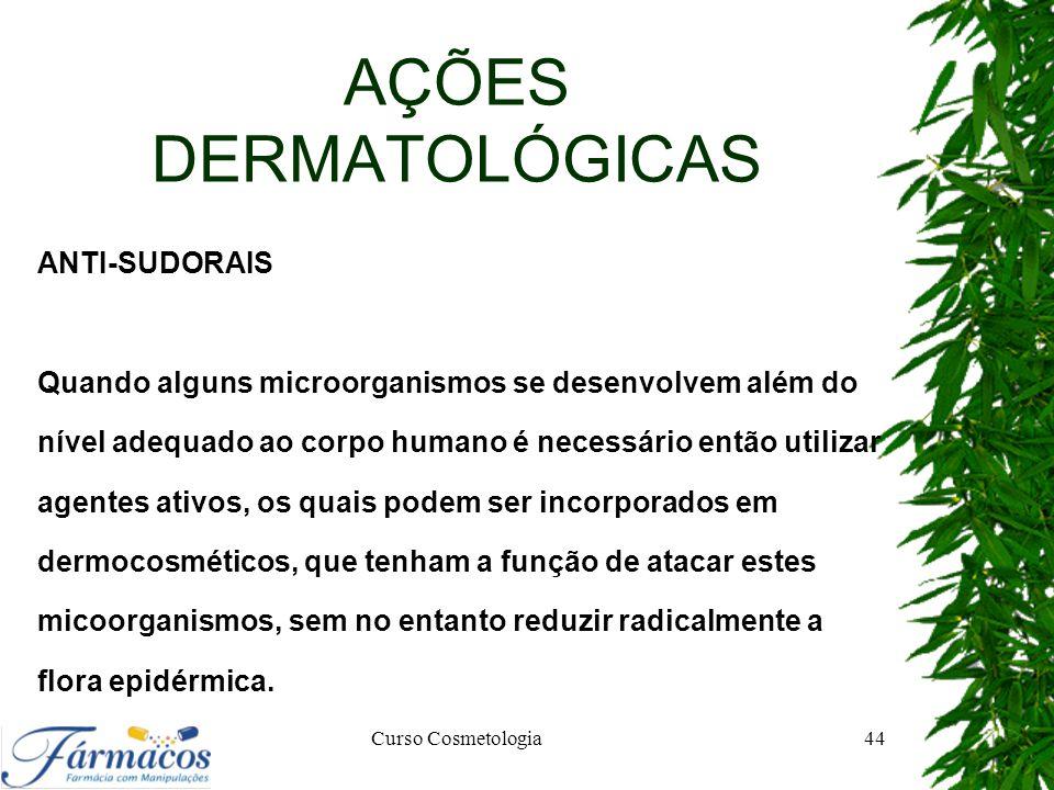 AÇÕES DERMATOLÓGICAS ANTI-SUDORAIS Quando alguns microorganismos se desenvolvem além do nível adequado ao corpo humano é necessário então utilizar age