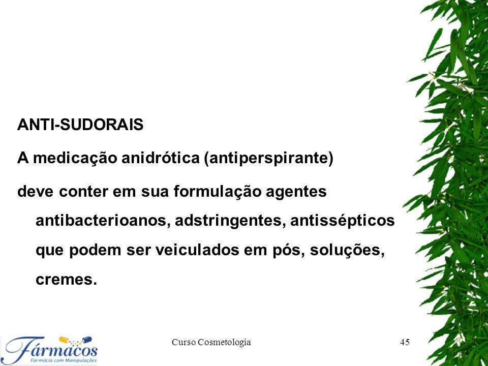 ANTI-SUDORAIS A medicação anidrótica (antiperspirante) deve conter em sua formulação agentes antibacterioanos, adstringentes, antissépticos que podem