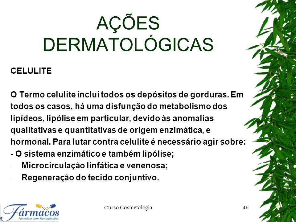 AÇÕES DERMATOLÓGICAS CELULITE O Termo celulite inclui todos os depósitos de gorduras. Em todos os casos, há uma disfunção do metabolismo dos lipídeos,