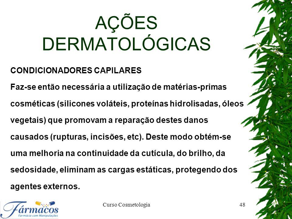 AÇÕES DERMATOLÓGICAS CONDICIONADORES CAPILARES Faz-se então necessária a utilização de matérias-primas cosméticas (silicones voláteis, proteínas hidro