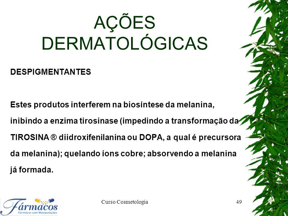 AÇÕES DERMATOLÓGICAS DESPIGMENTANTES Estes produtos interferem na biosíntese da melanina, inibindo a enzima tirosinase (impedindo a transformação da T