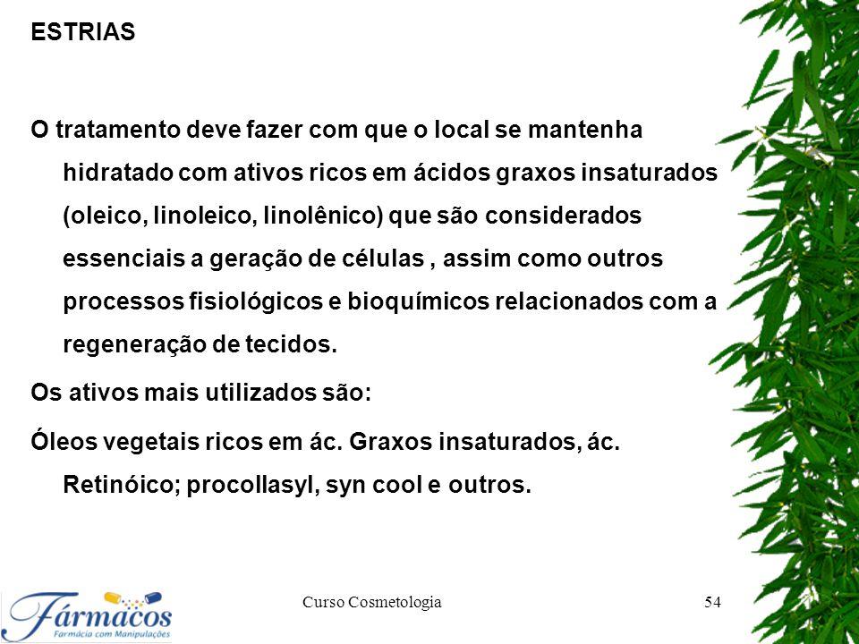 ESTRIAS O tratamento deve fazer com que o local se mantenha hidratado com ativos ricos em ácidos graxos insaturados (oleico, linoleico, linolênico) qu
