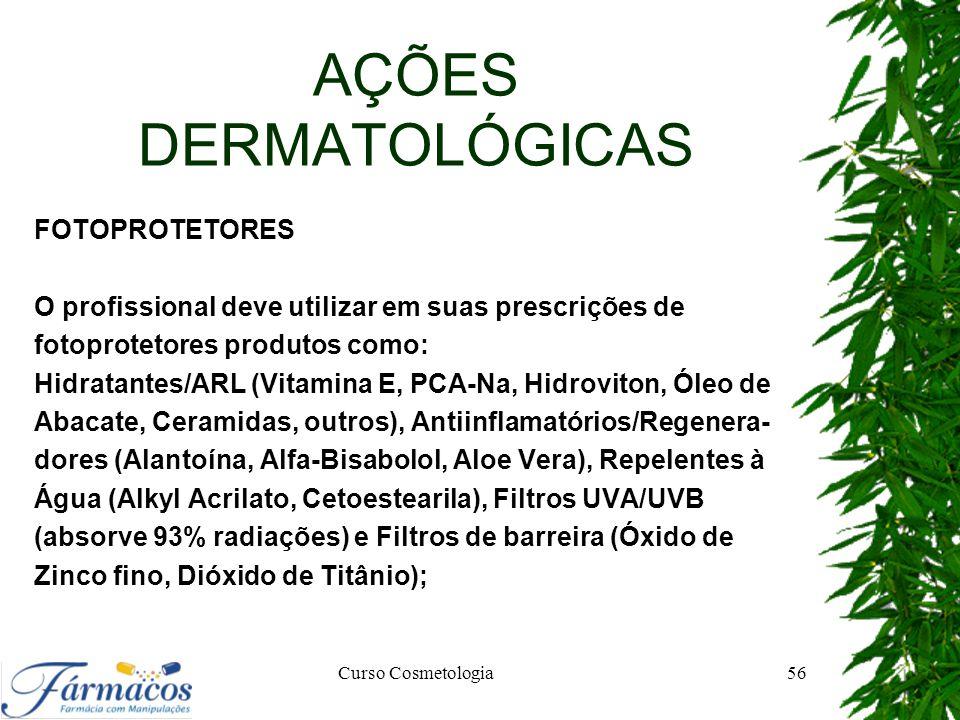 AÇÕES DERMATOLÓGICAS FOTOPROTETORES O profissional deve utilizar em suas prescrições de fotoprotetores produtos como: Hidratantes/ARL (Vitamina E, PCA