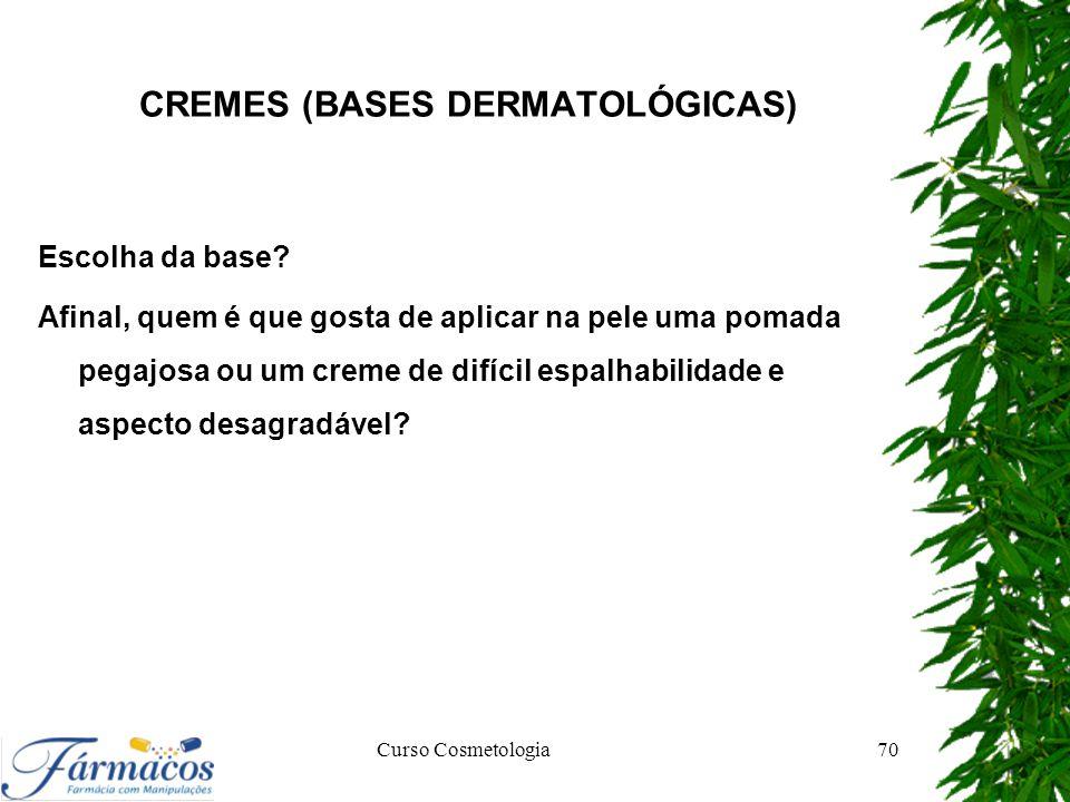 CREMES (BASES DERMATOLÓGICAS) Escolha da base? Afinal, quem é que gosta de aplicar na pele uma pomada pegajosa ou um creme de difícil espalhabilidade