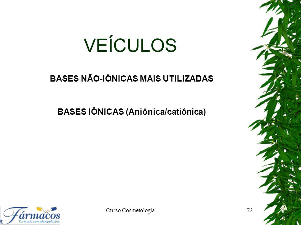 VEÍCULOS BASES NÃO-IÔNICAS MAIS UTILIZADAS BASES IÔNICAS (Aniônica/catiônica) Curso Cosmetologia73